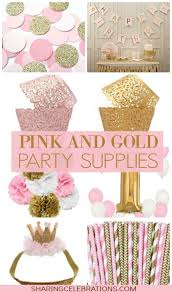 pretty pink and gold party supplies http sharingcelebrations