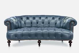 Blue Leather Chesterfield Sofa The Truman Curved Chesterfield Sofa In Blue Leather Of Iron