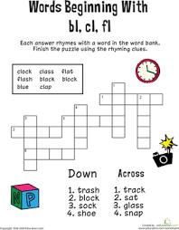 rhyming words worksheet for grade 3 consonant crossword words beginning with bl cl fl worksheet