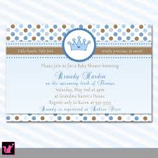 Baby Shower Invitation Cards Prince Baby Shower Invitation Card Crown Blue Polka Dots