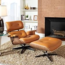 Wood And Leather Chair With Ottoman Design Ideas Eames Style Lounge Chair Ottoman Terracotta Walnut
