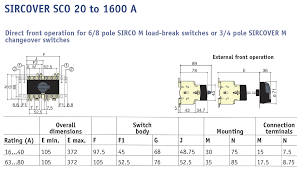 sirco m changeover switch i 0 ii 3p 63a direct handle nhp