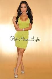 lime green shimmer cut out back bandage dress