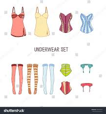 set underwear colored stockings corsets garter stock vector