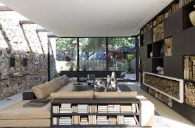 Home Stones Decoration Living Area With View Of Yard And Stone Wall Interior Design Ideas