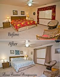 Bedroom Before And After Makeover - a coastal vacation home master bedroom makeover