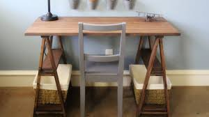 Build Basic Wooden Desk by Build Your Own Sawhorse Desk For More Work Space