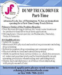 Dump Truck Driver Job Description Resume by Truck Driver Job At Johanna Foods Inc Monster Com