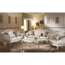 White Leather Tufted Sofa Acme Chantelle Sofa In Rose Gold Faux Leather Fabric U0026 Pearl White