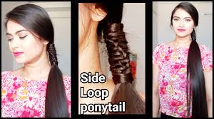 easy hairstyles for medium length hair step by step side loop ponytail easy hairstyles for medium to long hair