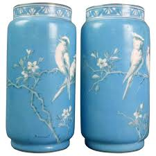 Antique Hand Painted Vases Antique Pair Of Baccarat Hand Painted Opaline Glass Vases Signed