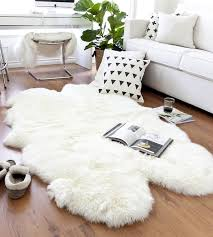 Washable Sheepskin Rug Quad Sheepskin Rug 4 Pelt Ivory White Lambskin Rug 4 X 6 5ft