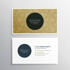 golden business card with ornaments vector free