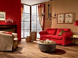 living room red sofa living room interior with wall painting and