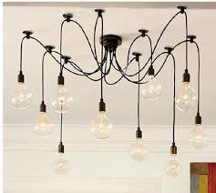 Wire Chandelier Diy Retro Classic Chandelier E27 Spider Lamp Pendant Bulb Holder Group