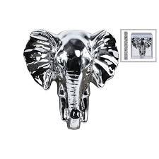 Polished Silver Chrome Finish Ceramic Elephant Head Wall Decor