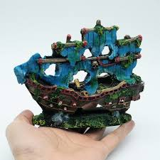 beautiful aquarium ornament blue resin pirate boat sunk ship