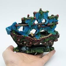 beautiful aquarium ornament blue resin pirate boat sunk ship