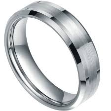 beveled ring dynamis bevled tungsten ring with brushed and polished center 6mm