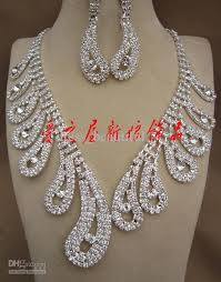 rhinestone necklace earrings images Dhgate attractive rhinestone necklace earring set bridal wedding jpg