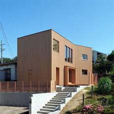 modern wooden wall japan house exterior with white modern floor