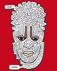 african mask maze printable art games for kids print and play