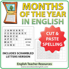 english months spelling u2013 cut and paste woodward english