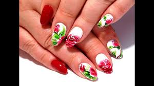 top an amazing design of nails manicure gel roses youtube