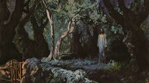 Art In The Garden - jesus in the garden of gethsemane stock photo royalty free image