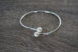 pearl sterling silver bracelet images Sterling silver pearl bangle bracelet pearls4girls JPG