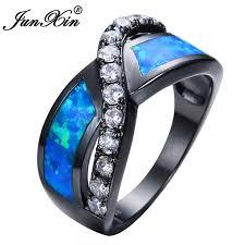 black opal engagement rings aliexpress buy junxin unique crossed blue opal rings