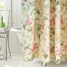 Unique Fabric Shower Curtains Japanese Floral Beige Fabric Shower Curtain Liner And Print