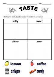 english teaching worksheets taste