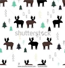 moose wrapping paper pattern moose trees seamless pattern stock vector 518301583