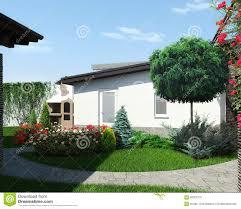 backyard landscaping and garden design 3d render stock