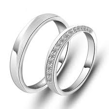 matching wedding rings sterling silver cubic zirconia his and hers matching wedding bands