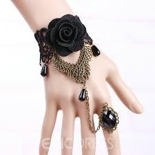 black rose bracelet images Ericdress vintage black rose lace ring bracelet 11358779 jpg