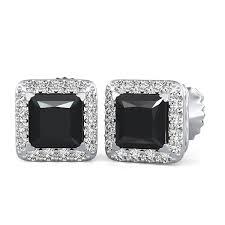 black diamond earrings studs 70 3 55 ct princess black white diamond halo earrings