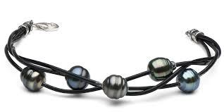 pearl sterling silver bracelet images Braided tahitian baroque pearl bracelet on leather 9 0 10 0mm jpg
