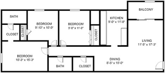 floor plans 3 bedroom 2 bath three bedroom apartment homes blacksburg va