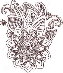 doodle indian mehndi indian flower pencil and in color mehndi