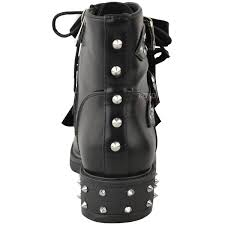 ladies lace up biker boots new womens ladies studded lace up ankle boots buckle biker goth