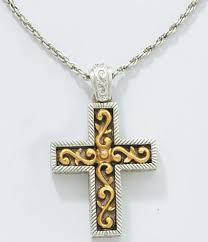 vatican jewelry vatican jewelry gold and silver scrolly cross necklace