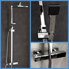 thermostatic shower taps chrome mixer drench twin head bathroom thermostatic shower amp taps chrome mixer drench twin