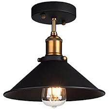 Pendant Light With Shade Industrial Ceiling Light Oak Leaf Semi Flush Vintage Metal 1