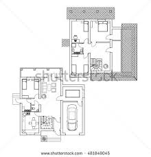 interior floor plans suburban house interior black white floor stock vector 360760199