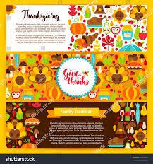 thanksgiving horizontal banners vector illustration autumn stock