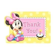 8 baby minnie mouse childrens 1st birthday party cards