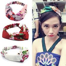 silk headband elastic printed turban twisted knotted headband silk flower hair