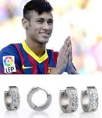 mens huggie earrings men s boy s neymar 18ct white gold plated diamond effect huggie